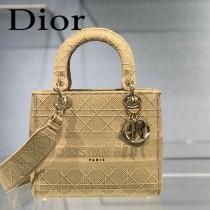 DIOR-04 迪奧全新Lady Dior 刺繡菱格系列戴妃包