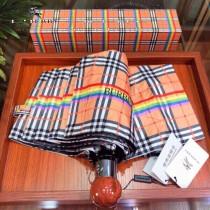 巴寶莉BURBERRY 最新木柄彩虹系列格子自動遮陽傘 雨傘