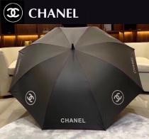 CHANEL 香奈兒經典大Logo黑色晴雨長傘