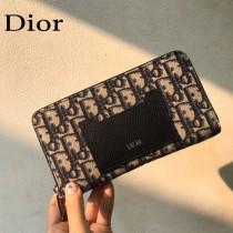 Dior 91608 原版皮經典老花長款拉鏈錢包
