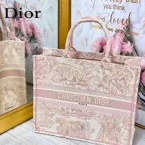 DIOR M1286-002  新款原版皮大號粉色老虎刺繡tote購物袋
