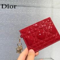 0126-03  Dior LADY DIOR 平蓋卡夾革藤格紋漆皮 原版皮