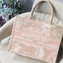 DIOR M1286-001 新款原版皮小號粉色老虎刺繡tote購物袋