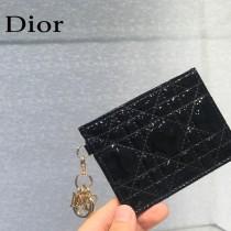 0126-05  Dior LADY DIOR 平蓋卡夾革藤格紋漆皮 原版皮