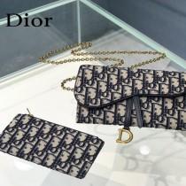 Dior 5614 藍色Dior Oblique印花馬鞍翻蓋式錢包