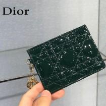 0126-02  Dior LADY DIOR 平蓋卡夾革藤格紋漆皮 原版皮