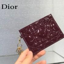 0126-04  Dior LADY DIOR 平蓋卡夾革藤格紋漆皮 原版皮