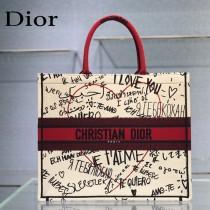 Dior 新色-七夕紅限定款 大號Book tote 寶藏刺繡購物袋