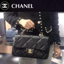 CHANEL-01 小牛皮金屬鏈條裝飾把柄手提斜背包