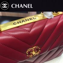 CHANEL-01  大V格進口綿羊皮手提斜背包