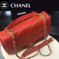 CHANEL-02 小牛皮金屬鏈條裝飾把柄手提斜背包
