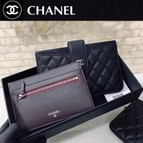 CHANEL 81902 香奈兒原版皮二件套卡包 银扣