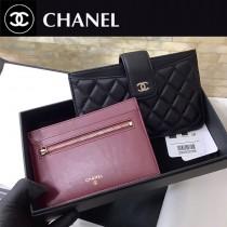 CHANEL 81902 香奈兒原版皮二件套卡包 內外全皮黑色羊皮長款零錢包  手機包 卡包