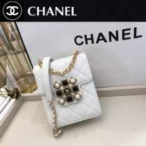 CHANEL As1890 香奈兒原版皮Chanel 新品 單口蓋手機包 珍珠瑪瑙扣