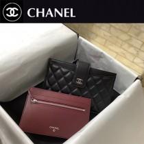 CHANEL 81902 香奈兒原版皮二件套卡包 內外全皮黑色羊皮長款零錢包  手機包 银扣
