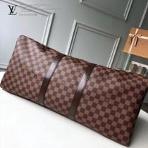 41414 咖啡棋盤格原版皮 KEEPALL 55 旅行袋