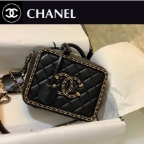 CHANEL 1785 香奈兒原版皮SMALLVANITYCASE羊皮圍鏈斜挎化妝盒 相機包
