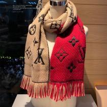 M73886雙面雙色 老花真絲羊毛提花長巾