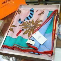 HERMES愛馬仕摩登花豹系列真絲羊絨方巾
