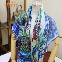 HERMES愛馬仕羽飾慶典系列原單羊絨方巾