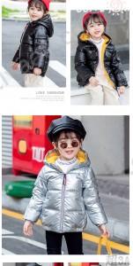 清倉 兒童羽絨服 男童女童寶寶銀色外套 加厚中大童連帽童裝