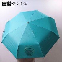Tiffany蒂芙尼 最新藍色手柄配高檔圓桶包裝自動雨傘遮陽傘