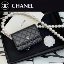 CHANEL 2059-01  最新款原版皮全新秋冬珍珠鏈 MINI WOC發財包