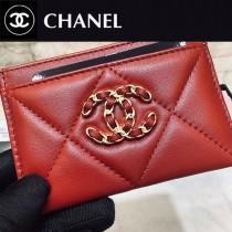 CHANEL Ap1167-01  香奈兒經典菱格紋19羊皮金色大cc logo 卡包卡套