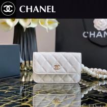 CHANEL 2020-1胎牛皮秋冬新品珍珠肩帶神仙胸包上身超級很百搭