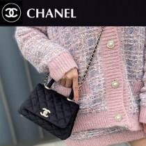 CHANEL AS2215-01  新款 绒布mini coco HANDLE 小迷你口盖手提包