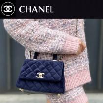 CHANEL AS2215-02  新款 绒布mini coco HANDLE 小迷你口盖手提包