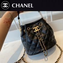 CHANEL AS2057-01  Chane1復古抽繩紐扣包桶包