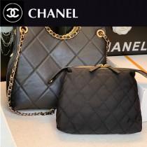 CHANEL 最新新款購物袋黑色二件套