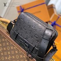 LV 原版皮 M57307 黑色全皮壓花STEAMER 郵差包