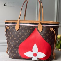 LV原版皮 m57452 撲克NEVERFULL 中號手袋購物袋