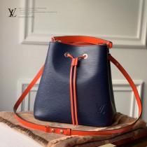 LV原版皮M54369-2 EPI水波紋NOE水桶包 可裝5瓶香檳酒的手提袋 經過重新設計,由標誌性Epi皮革搭配彩色內襯制作而成 尺寸 26x26x17.5cm