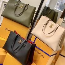LV原版皮M57345 2021春夏新品LOCKME 手袋購物袋