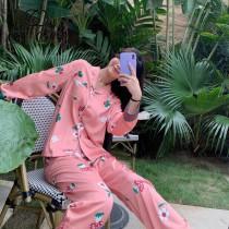 GUCCI古奇新款2件套睡衣 長袖 長褲 古奇花朵印花圖案