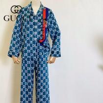 GUCCI古奇新款小熊印花睡衣2件套  長袖 長褲