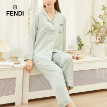 FENDI芬迪  新款睡衣 F家最經典款式超多明星網紅同款開衫紐扣款 字母刺繡2件套  長袖 長褲