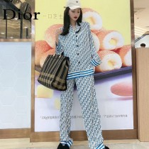 Dior迪奧 新款  情侶款 開衫件套—長袖長褲睡衣