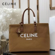 CELINE 賽琳-01 Tote黃棕色沙灘購物包