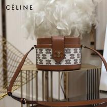 CELINE 賽琳 195192-03  原單 CELINE TAMBOUR TRIOMPHE 新款圓形盒子包刺繡織布配牛皮革中號手袋
