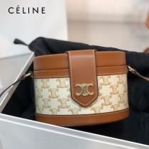 CELINE 賽琳 195192-05  原單 CELINE TAMBOUR TRIOMPHE 新款圓形盒子包刺繡織布配牛皮革中號手袋