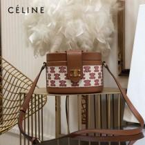 CELINE 賽琳 195192-02  原單 CELINE TAMBOUR TRIOMPHE 新款圓形盒子包刺繡織布配牛皮革中號手袋