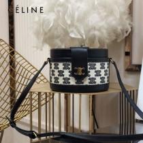 CELINE 賽琳 195192-04  原單 CELINE TAMBOUR TRIOMPHE 新款圓形盒子包刺繡織布配牛皮革中號手袋