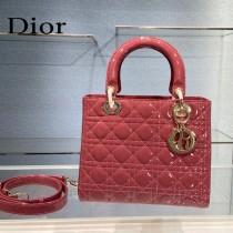 Dior-01  迪奧 Lady Dior 漆皮五格菱格中號戴妃包