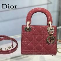 Dior-01  迪奧 Lady Dior 小号漆皮四格菱格戴妃包