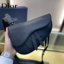 Dior-03  迪奧原版皮新款Dio Saddle Bag 迪20新款老花藍馬鞍包腰包胸包