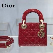 Dior-02  迪奧 Lady Dior 小号漆皮四格菱格戴妃包